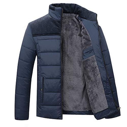 Winter Men Jacket Fur Hood with Cashmere Winter Jacket Coat, Blue,4XL