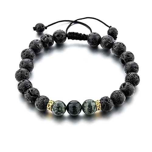 Mystiqs Adjustable Lava Rock & Camouflage Natural Stone Bracelet Essential Oil Diffuser for Men/Women, Aromatherapy Ideal for Anti-Stress or (Camouflage Stone)