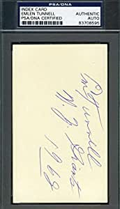 EMLEN TUNNELL SIGNED PSA/DNA COA 3X5 INDEX CARD AUTHENTIC AUTOGRAPH