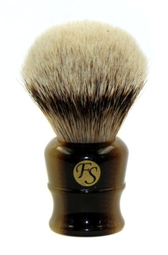 Super Large Silvertip Badger Shaving Brush with Faux Horn Handle Comes with Free Stand (Faux Horn)