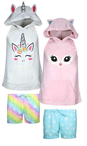 dELiAs Girls 4-Piece Summer Pajama Short Set with Animal Charcater Hood, Unicorn/Fox, Size -