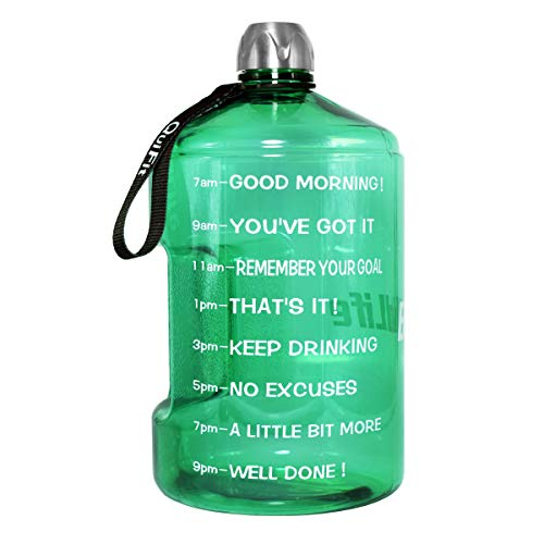 QuiFit 1 Gallon Water Bottle with Motivational Time Marker 128/73/43 oz Large Capacity BPA Free Reusable Sports Water Jug with Handle to Drink More Water(1 Gallon, Mint Green)