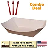 Paper Food Tray, 1 lb Kraft Nacho, Fries, Hot Corn Dogs, Take Out Boat Baskets Holder Container: Grease Resistant Cardboard Carry Tray, 100 Trays + 50 French Fry Forks