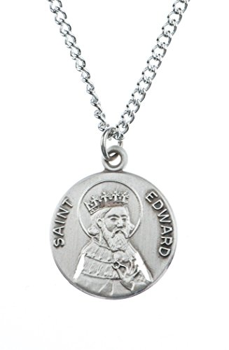 Edward Medal Pendant - Patron and Protector Medals Pewter Saint St Edward Dime Size Medal Pendant, 3/4 Inch