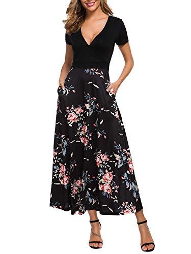 HUHOT Womens Fall Casual Dresses,Short Sleevve Vintage Navy Floral Petite Maxi Dress S 19112-2