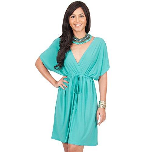 kimono sleeve v neck dress - 7