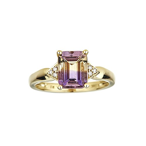 10k Yellow Gold Emerald-cut Ametrine and Diamond Ring ()