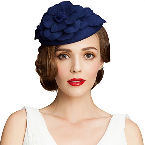 Flower Womens Dress Fascinator Wool Pillbox Hat Party Wedding A083 (Blue) (Fascinator Hats Blue)