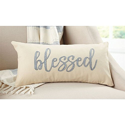 - Mud Pie Blessed Canvas & Felt Pillow 8 1/2