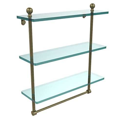 Triple Allied Glass Brass Shelf - Allied Brass MA-5/16TB-ABR Mambo Collection 16 Inch Triple Tiered Glass Shelf with Integrated Towel Bar, Antique Brass
