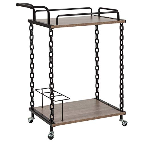 Taylor + Logan Light Oak Wood Kitchen Server and Bar Cart with 3 Bottle - Oak Holder Iron Mini