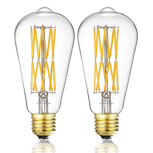 (Leools Filament LED Edison Bulb 15W Dimmable 2700K Warm White 1300LM, 120W Incandescent Equivalent E26 Base, ST64 Vintage LED Filament Bulbs, 360 Degrees Beam Angle, Pack of)