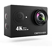 DBPOWER Action Camera, 12MP 4K Sports Action Video Camera Ultra HD 170 Degree Wide Angle Waterproof Underwater Cam with Romote Control and Rechargeable Battery Accessories Kit