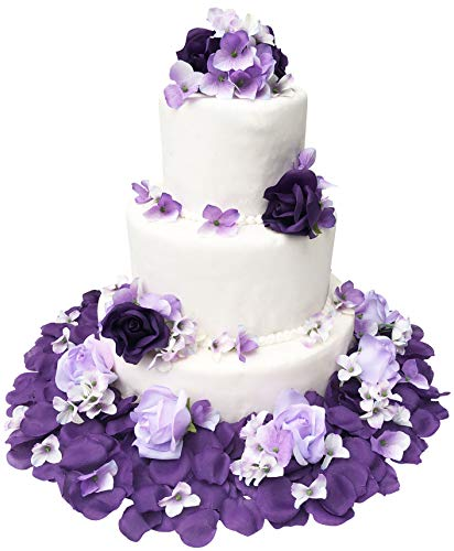 TheBridesBouquet.com Wedding Cake Topper | Purple and Lavender Wedding Decorations for Reception | Artificial Flowers]()
