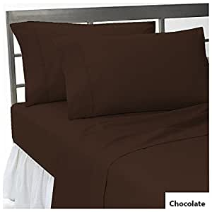 """sPECIAL THINGs 3 Pieces Fitted Sheet Twin XXL Size with 27"""" Deep Pocket in New Chocolate color and Solid Pattern 100% Egyptian Cotton { 400 Thread Count }"""