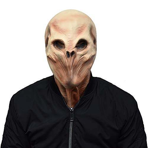Predator Mask Alien Head Skeleton Deluxe Novelty Latex Full Head Mask UFO Halloween Costume Alien -
