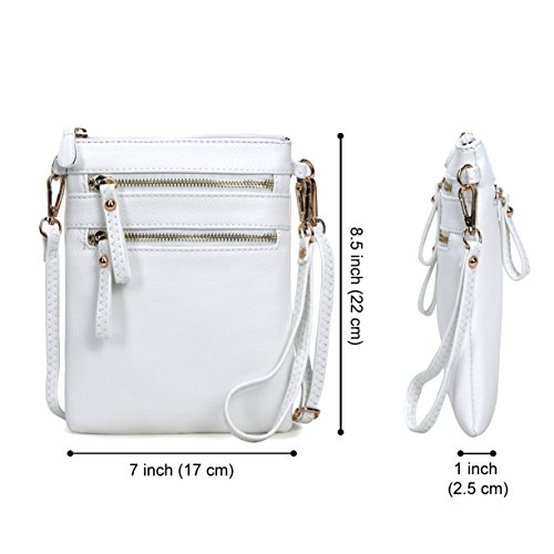 Detachable Zipper Crossbody Leather Handbag With Bag Wristlet Multi White Faux Organizer Pockets Women's Solene B1Xqzz