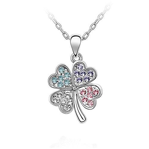 Souarts Bijoux Coffret Cadeau pour Femme Collier Cristal Artificiel Pendentif Trèfle 45cm