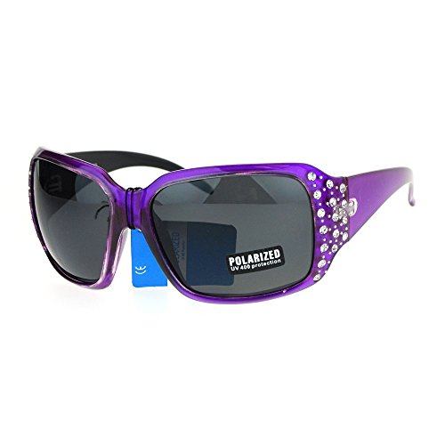 SA106 Polarized Lens Oversize Rhinestone Bling Iced Out Womens Sunglasses Purple