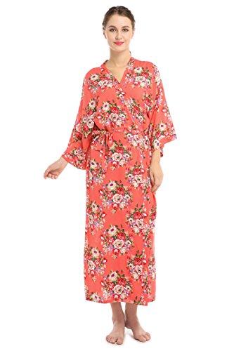 (Women's Floral Satin Kimono Robe Long Cotton Bride Gift Wedding Bridesmaids Dress(X-Large,Coral))