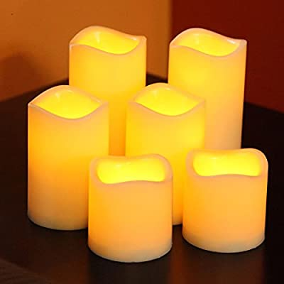 Lily's Home SW421 Flameless Battery Operated LED Votive Candles with Timer, Set of 6
