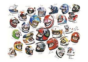 F1 Racing controladores con firmas y cascos – logos – A3 Póster