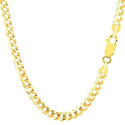 Pori Jewelers 10K Yellow Gold 5MM Hollow Curb/Cuban Chain Bracelet/Necklace-Made in Italy