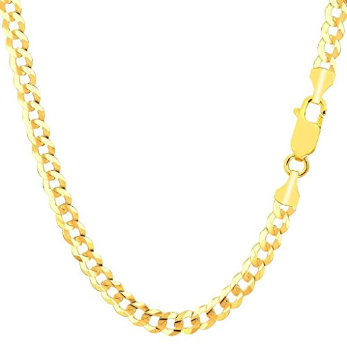 14K Solid Yellow Gold 5.5mm Thick Cuban Curb Link Chain Necklace- Lobster Claw Clasp- 26
