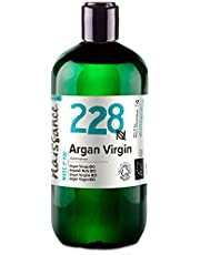 Naissance Organic Moroccan Argan Oil 500ml - Pure and Natural, Certified Organic, Cold-Pressed, Vegan, Hexane Free, No GMO - Natural Moisturiser and Conditioner for Face, Hair, Skin, Beard & Cuticles