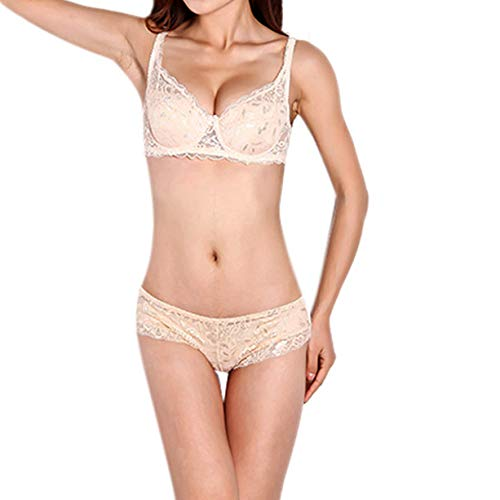 Dreamstar Women Sexy Underwear 3/4 Cup Padded Lace Sheer Bra Push Up Padded Up Embroidery Brassiere