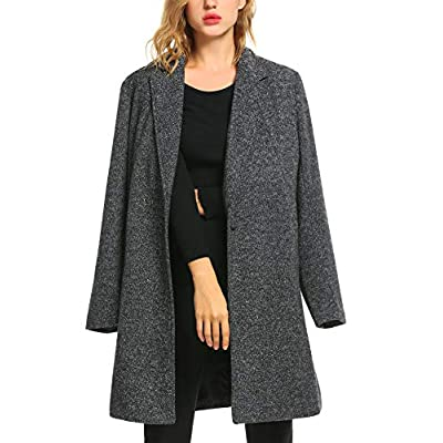 Zeagoo Winter Blended Coat Women Casual Long Pea Coat Trench Button Cardigan Pockets: Clothing