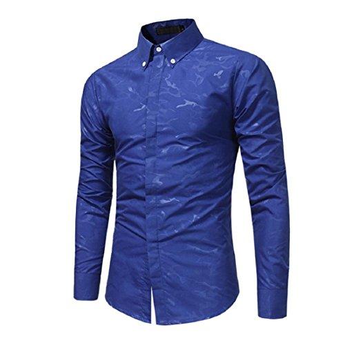 Men's Print Shirts Casual Slim Fit Stand Collar Long Sleeve Dress Shirt Tops (S, Blue) by GONKOMA Mens Shirts