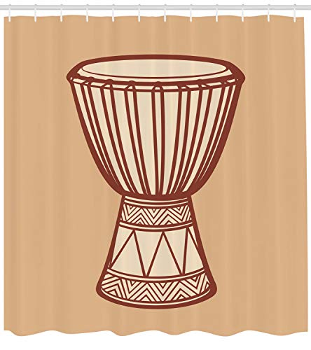 Lunarable Drum Shower Curtain, African Indigenous Djembe Exotic Native Percussion Rhythm Tribal Culture, Cloth Fabric Bathroom Decor Set with Hooks, 70 inches, Sand Brown Beige Brown