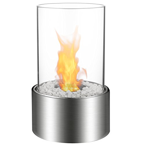 Indoor Gel Fuel Fireplace (Regal Flame Eden Ventless Tabletop Portable Bio Ethanol Fireplace in Stainless Steel)