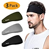 poshei Mens Headband (3 Pack), Mens Sweatband & Sports Headband for Running, Crossfit, Cycling, Yoga, Basketball - Stretchy Moisture Wicking Unisex Hairband