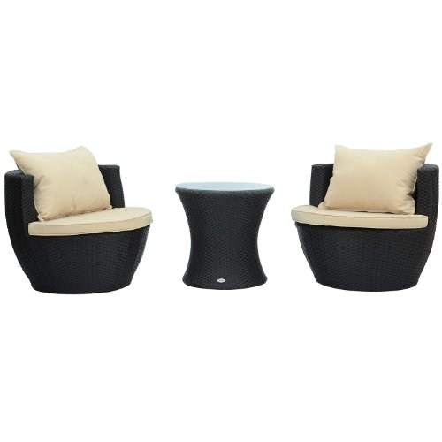 Outsunny 3-Piece Outdoor Stacking Rattan Wicker Patio Chair Set (Wicker Furniture Front Porch)