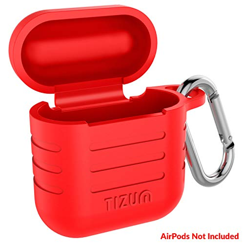 Tizum Apple AirPod Silicone-Shockproof Case Cover with Carabiner Hook (Red)