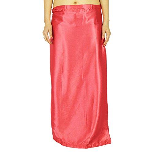 Forro ya hechas Inskirt para la seda de la enagua regalo Sari indio satinado para las mujeres Salmón