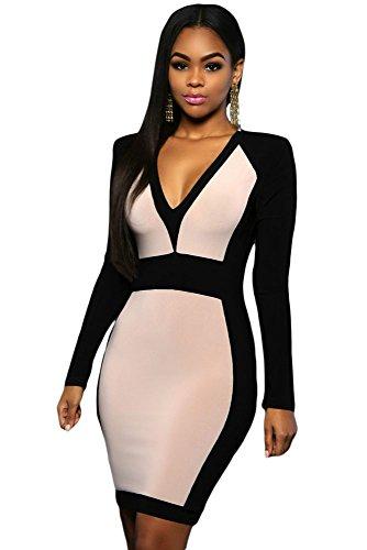EZON-CH Women's Apricot Black Color Block Long Sleeve Midi Dress Size S