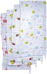 Braxus Cotton Burp Cloths Set for Baby Boys and Girls - 4-Pack Ultra Absorbent Burping Cloth, Burp Clothes, Newborn Towel -