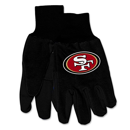 Wincraft NFL San Francisco 49ers Mechanical/Gardening/Work/Utility Glove with 3D Logo … (Black on Black)