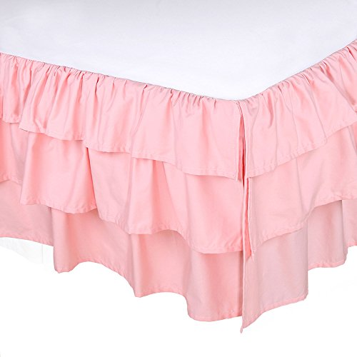 (Coral Pink Three Layered Crib Dust Ruffle by The Peanut Shell)