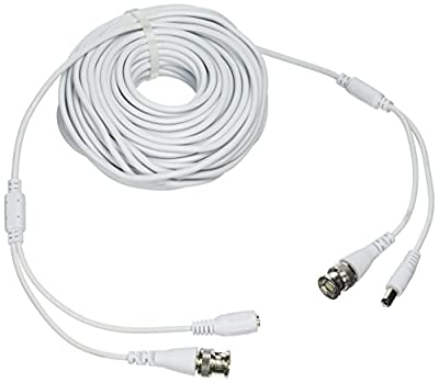 Laview LVA-ACA2060W 60 Foot All-in-One BNC Video and Power Cable with Connectors, White