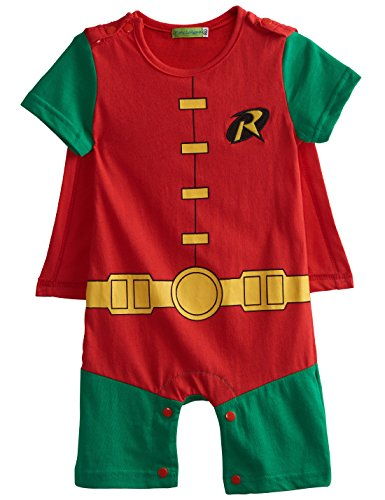 [A&J Design Baby Boys' Robin Short Sleeve Romper Costume (6-9 Months)] (Superhero Costumes Pictures)