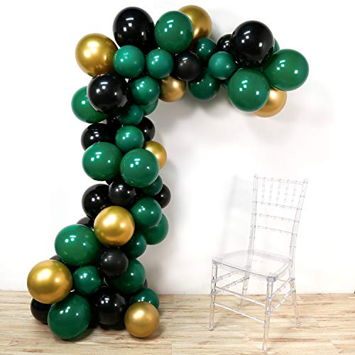PartyWoo Green Gold Balloons, 60 Pcs 12 Inch Dark Green Balloons Black Balloons Gold Metallic Balloons Green Birthday Balloons for Black Party Decorations, Green Party Decorations -