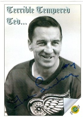 Autograph Warehouse 63174 Ted Lindsay Autographed Hockey Card Detroit Red Wings 1992 Ultimate No. 94