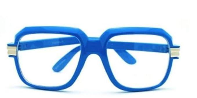 a848163b024 Blue-Clear Retro Clear Lens Gazelle Run Dmc Style Black Sun Glasses w Metal
