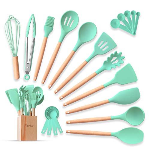 Silicone Cooking Utensils Kitchen Utensils Set 22pcs Natural Bamboo Handles Non-Stick BPA-Free Non-Scratch Cookware W…