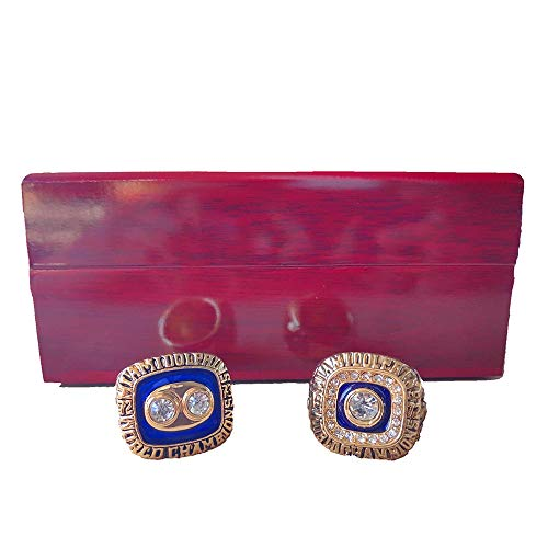 Gloral HIF Mens Miami Dolphins Championship Rings Set 1972 1973 Football Rings Size 11 with Display Wooden Box ()