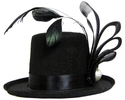 Mini Top Hat Costume (Pearl and Feather Black Mini Top Hat)
